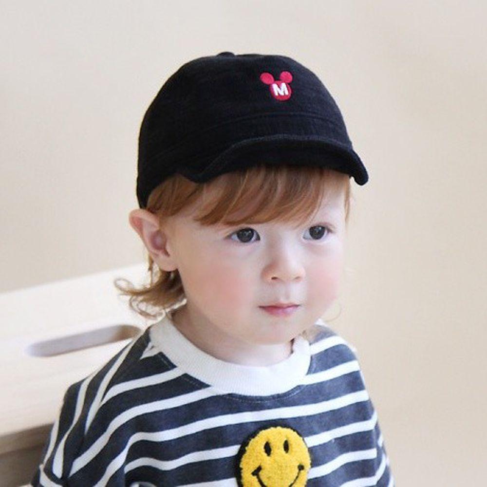 韓國 Babyblee - 小米奇燈芯絨棒球帽-黑 (FREE)