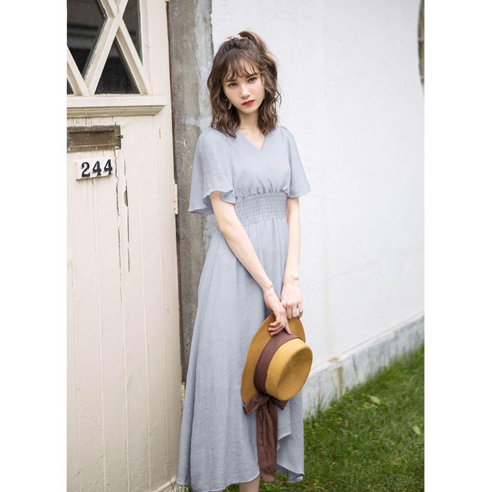 日本 GRL - 飄逸前後V領短袖洋裝-寶貝藍