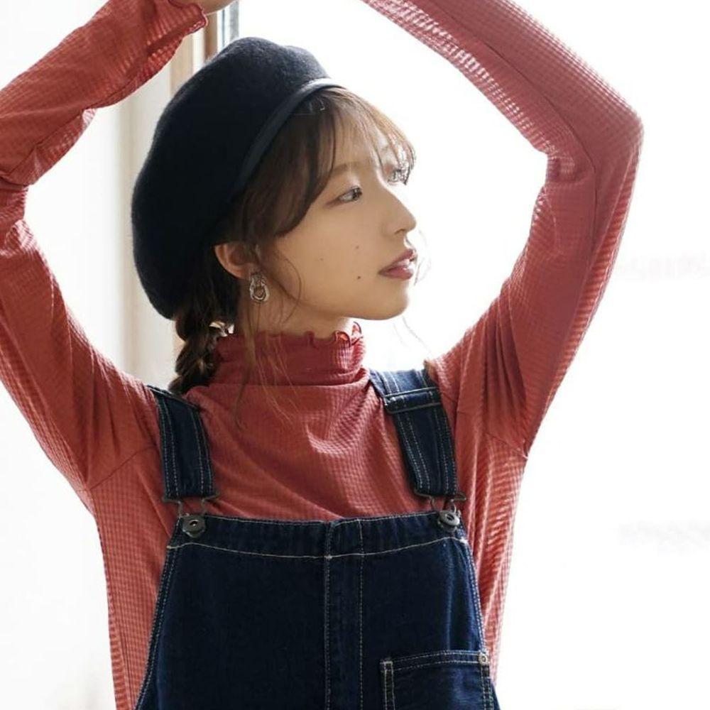 日本 zootie - 透明立體格子紋木耳邊透膚輕薄長袖上衣-深粉