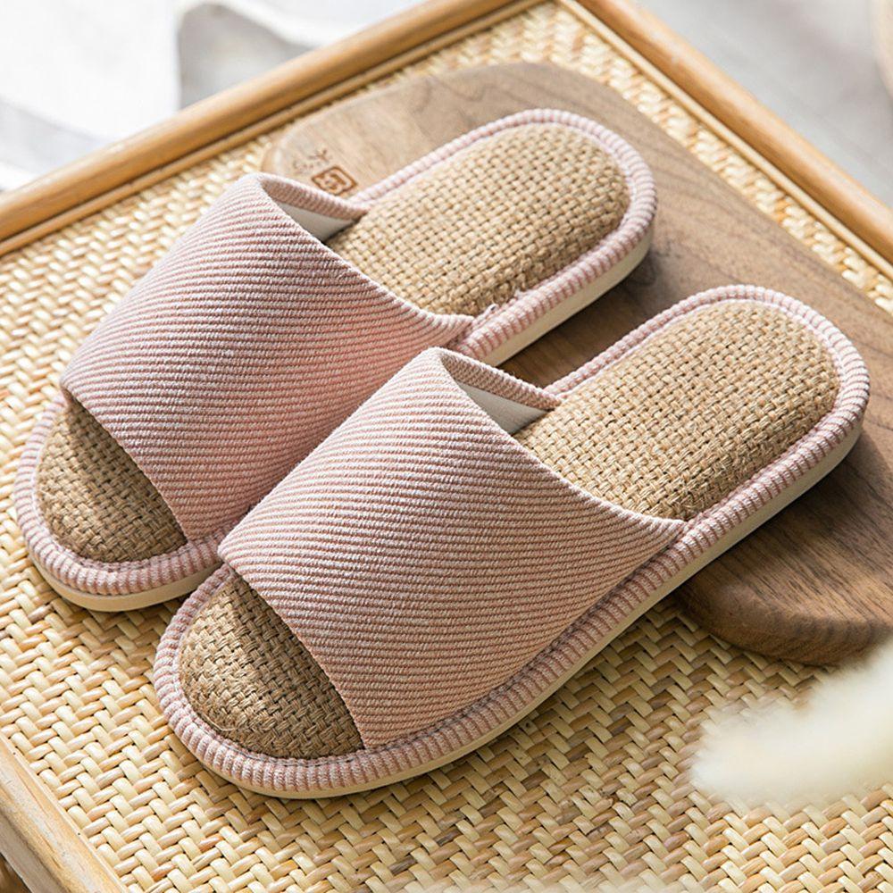 四季款亞麻防滑拖鞋-粉紅
