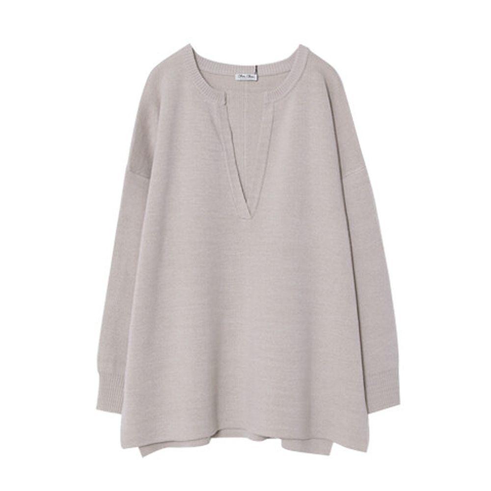 日本女裝代購 - 深V領立體線條針織毛衣-杏 (M(Free size))
