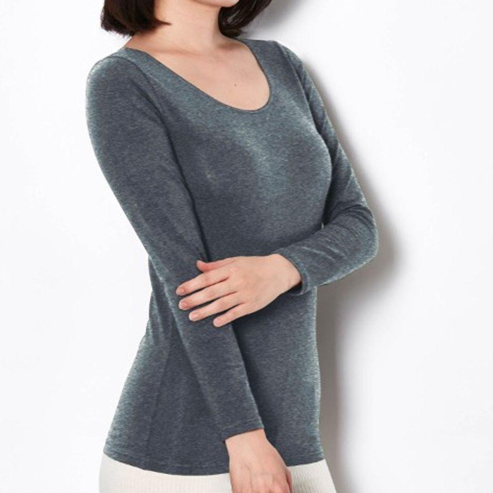 日本千趣會 - 95%棉 (媽媽)圓領十分袖發熱衣-深灰