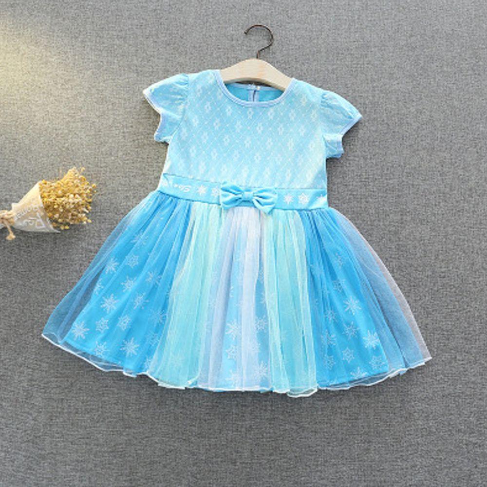短袖造型公主裙-冰雪藍
