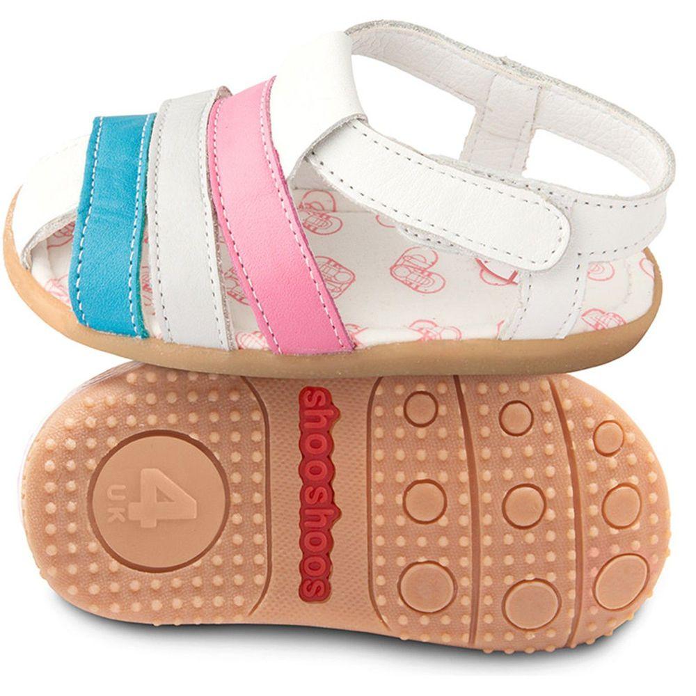 英國 shooshoos - 健康無毒真皮手工涼鞋/童鞋-藍白粉線條