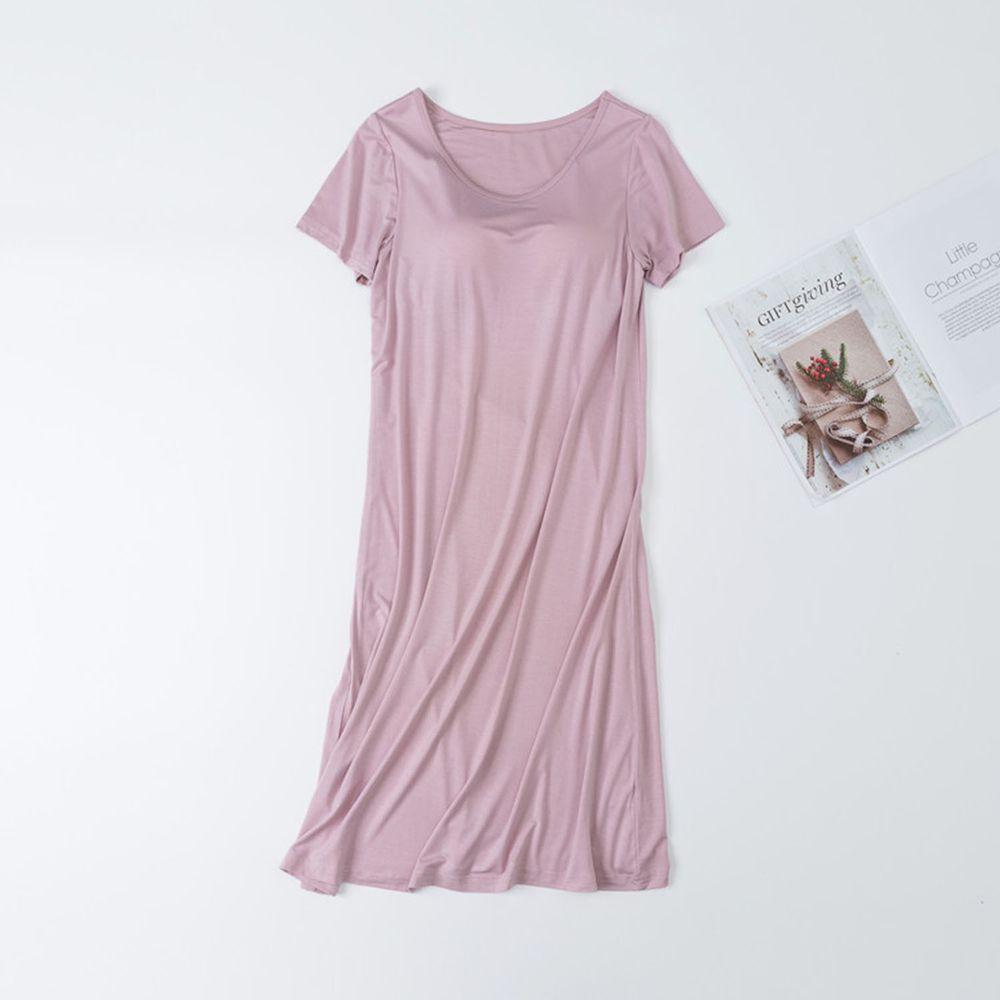莫代爾柔軟涼感Bra T睡裙-豆沙粉