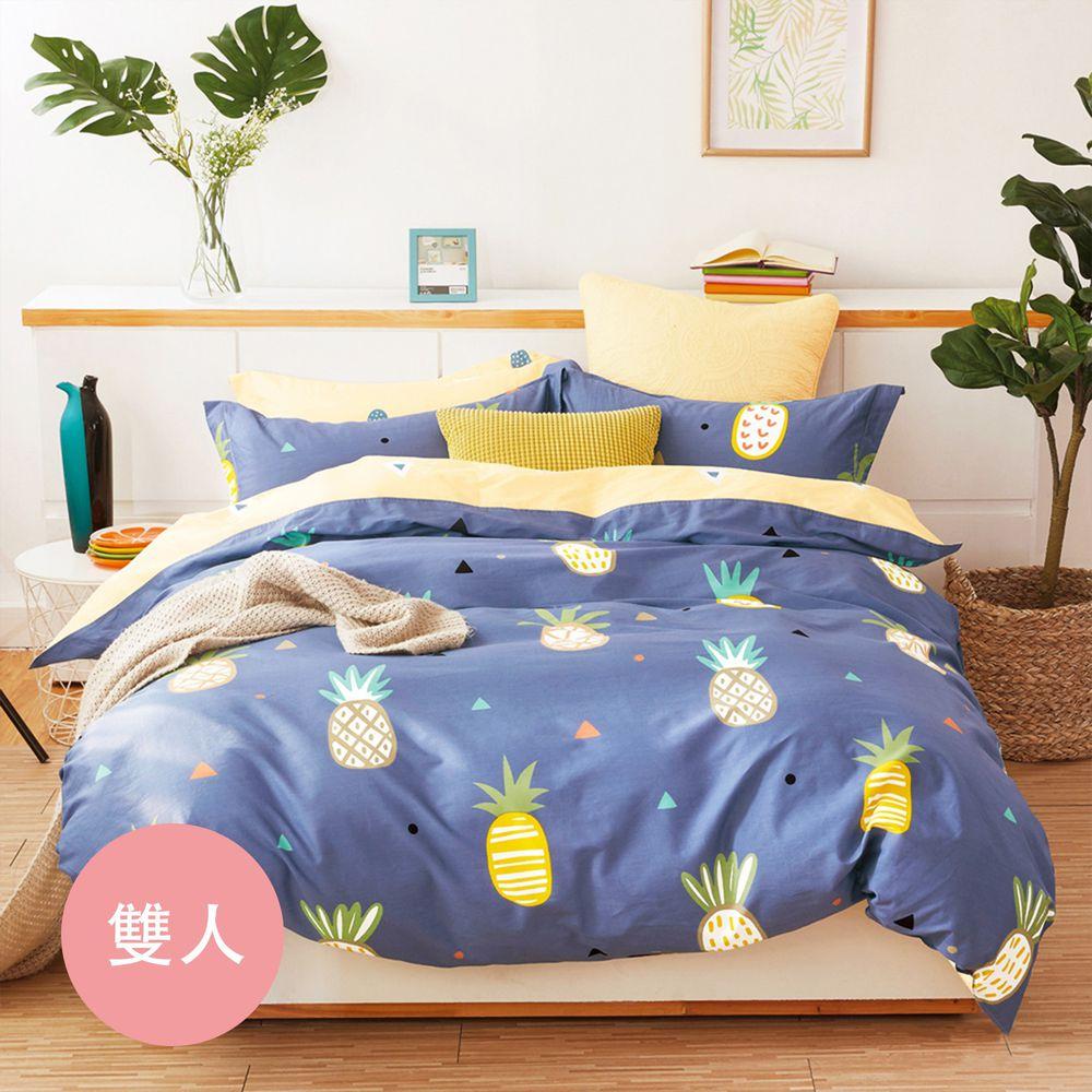 PureOne - 極致純棉寢具組-水木清華-雙人鋪棉兩用被套床包四件組