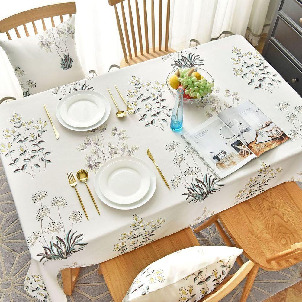 防水防髒桌布-植物樂園-白色