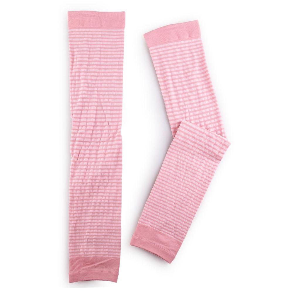 貝柔 Peilou - 兒童高效涼感防蚊抗UV袖套-親子條紋-粉