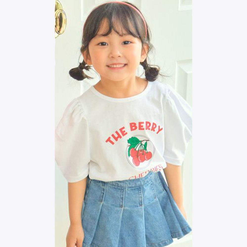 韓國 Hanab - 一串櫻桃泡泡袖純棉上衣-白