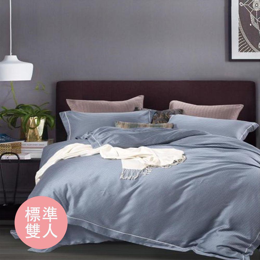 飛航模飾 - 裸睡天絲加高版床包組-敘事-藍(雙人床包兩用被四件組) (標準雙人 5*6.2尺)