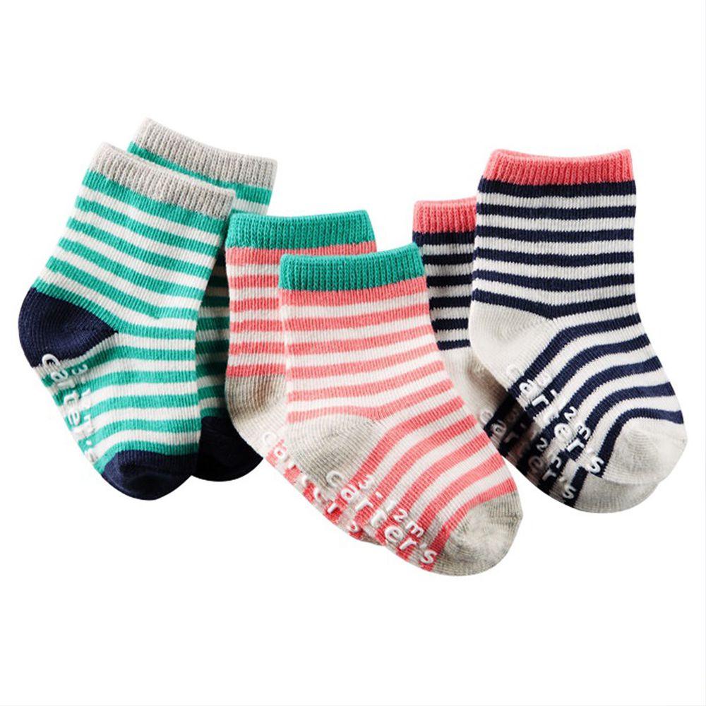 美國 Carter's - 嬰幼兒短襪三入組-綠粉黑 (6-8Y)