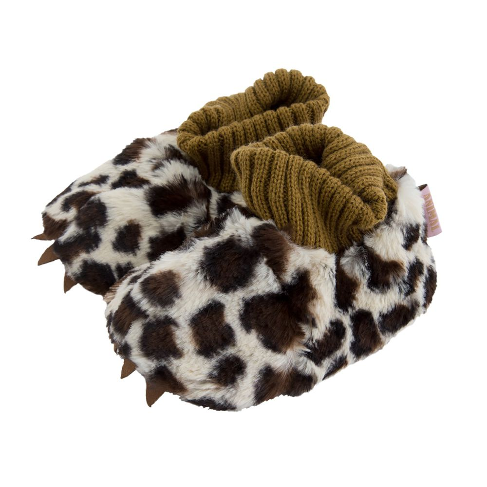 日本 BISQUE - 動物造型超柔軟保暖室內鞋(底部止滑)-花豹-杏 (14-16cm)