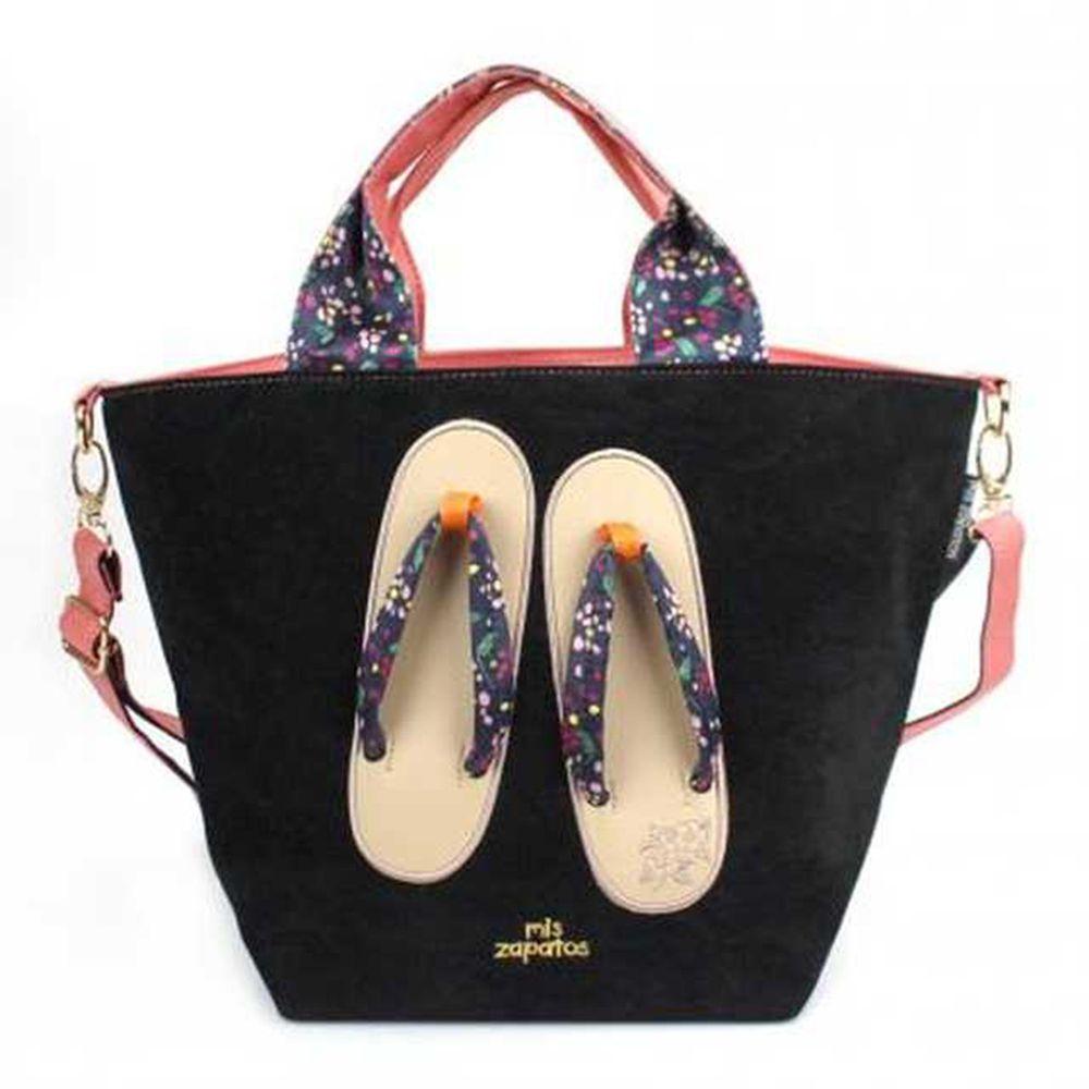 mis zapatos - 肩揹美腿包(棉布)-和服木屐夾腳拖-BK黑色 (24*19*19cm)