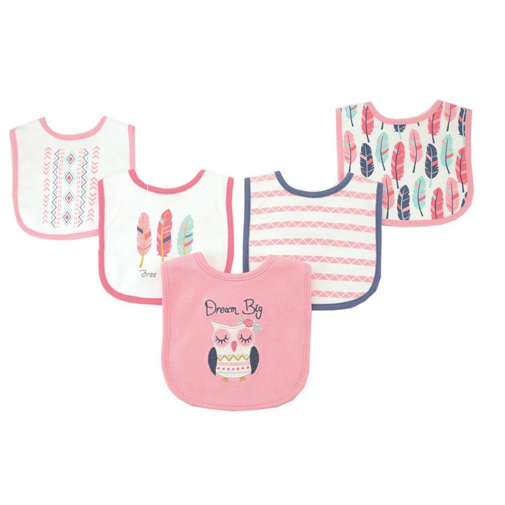 美國 Luvable Friends - 嬰幼兒雙層吸水口水巾圍兜5入組-粉貓頭鷹