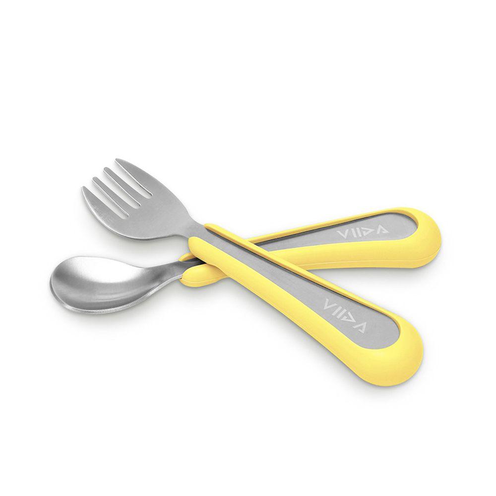 VIIDA - Soufflé抗菌不鏽鋼兒童叉匙組-叉子.湯匙-黃-6個月以上