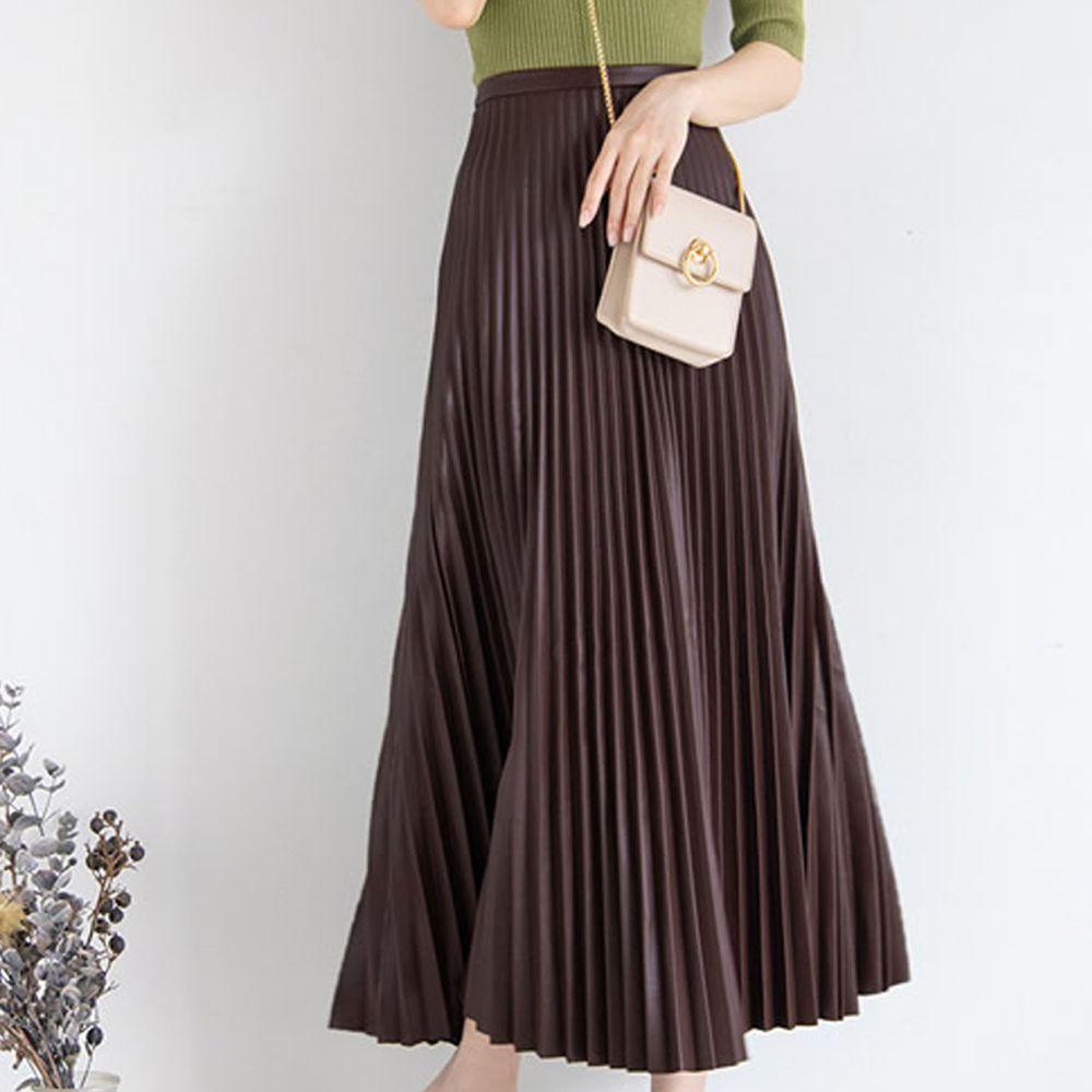 日本 GRL - 光澤皮質百褶長裙-深咖啡