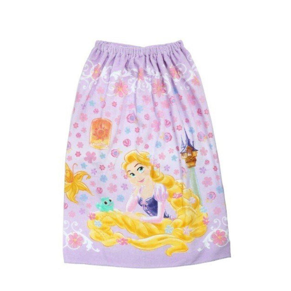 日本服飾代購 - 純棉海灘/游泳浴巾/浴袍 (附釦)-長髮公主花園-粉紫 (長80cm(國小中年級以上))