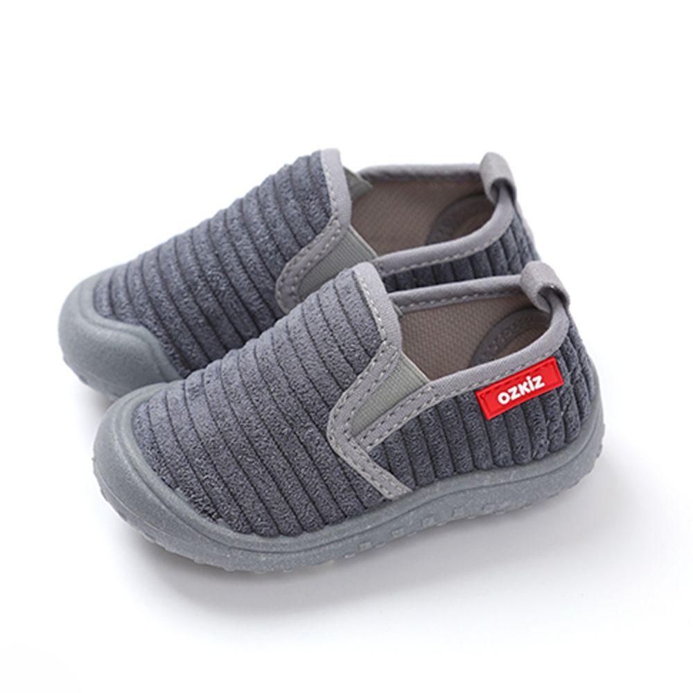 韓國 OZKIZ - (剩14cm)絨布超防滑兒童休閒鞋/室內鞋-灰