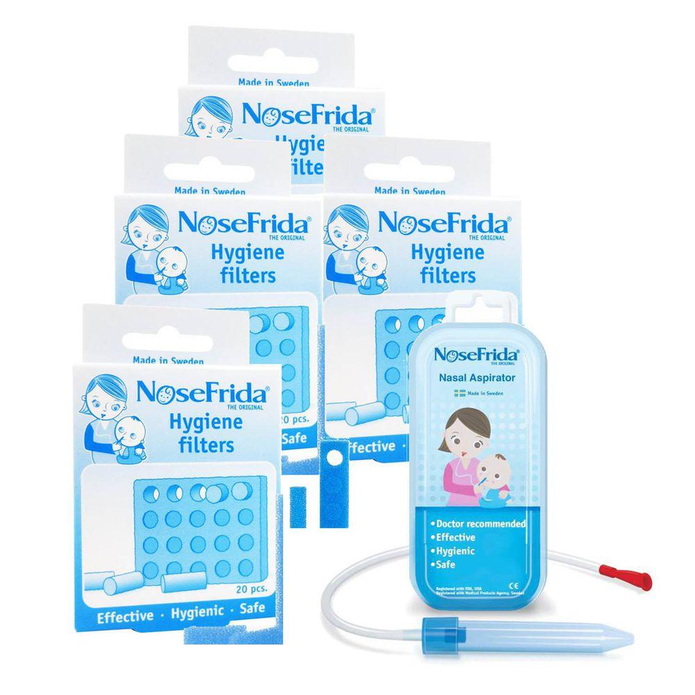瑞典 NoseFrida - 口吸式 寶寶吸鼻器-超值特惠組-吸鼻器x1+替換濾心20入/盒x4