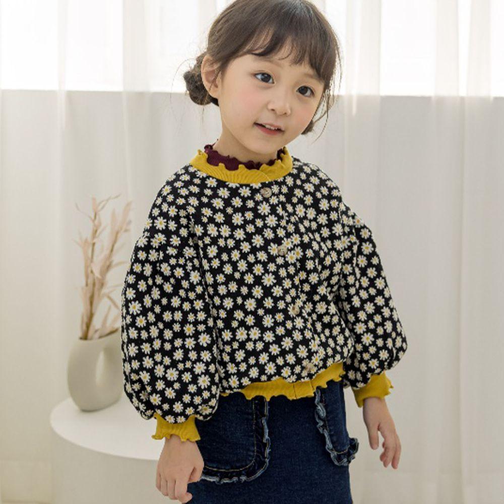 韓國 Orange Mom - 小雛菊泡泡袖針織外套-黑