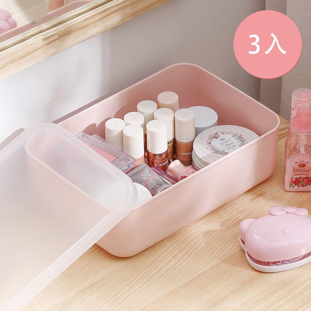 日本霜山 - 無印風霧面附蓋扁形收納盒-櫻花粉-S-3入
