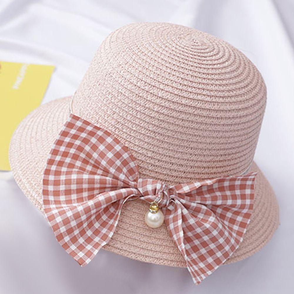 蝴蝶結草帽-粉色 (小孩款(52-54cm))