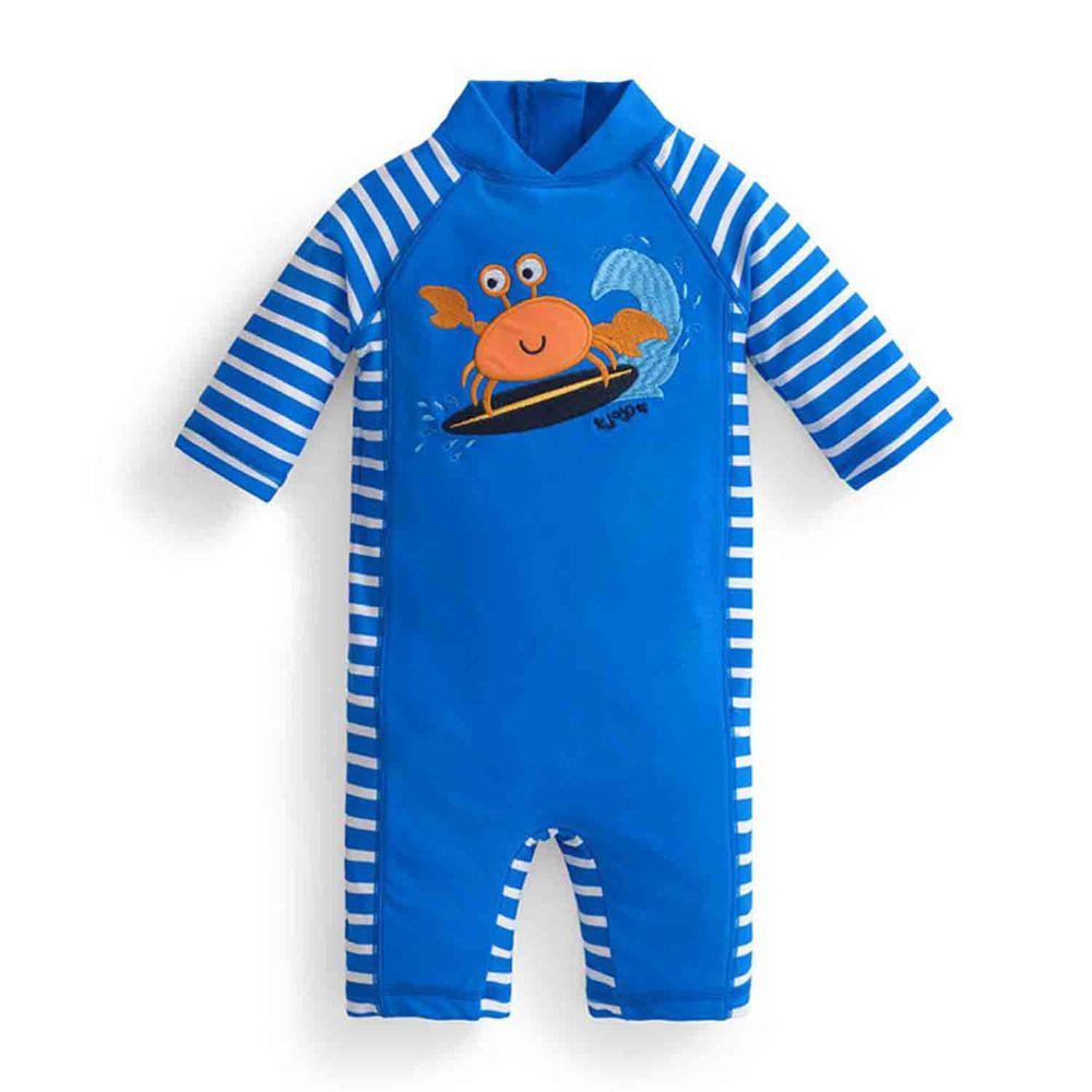 英國 JoJo Maman BeBe - 嬰幼兒/兒童連身式防曬泳裝-橘螃蟹