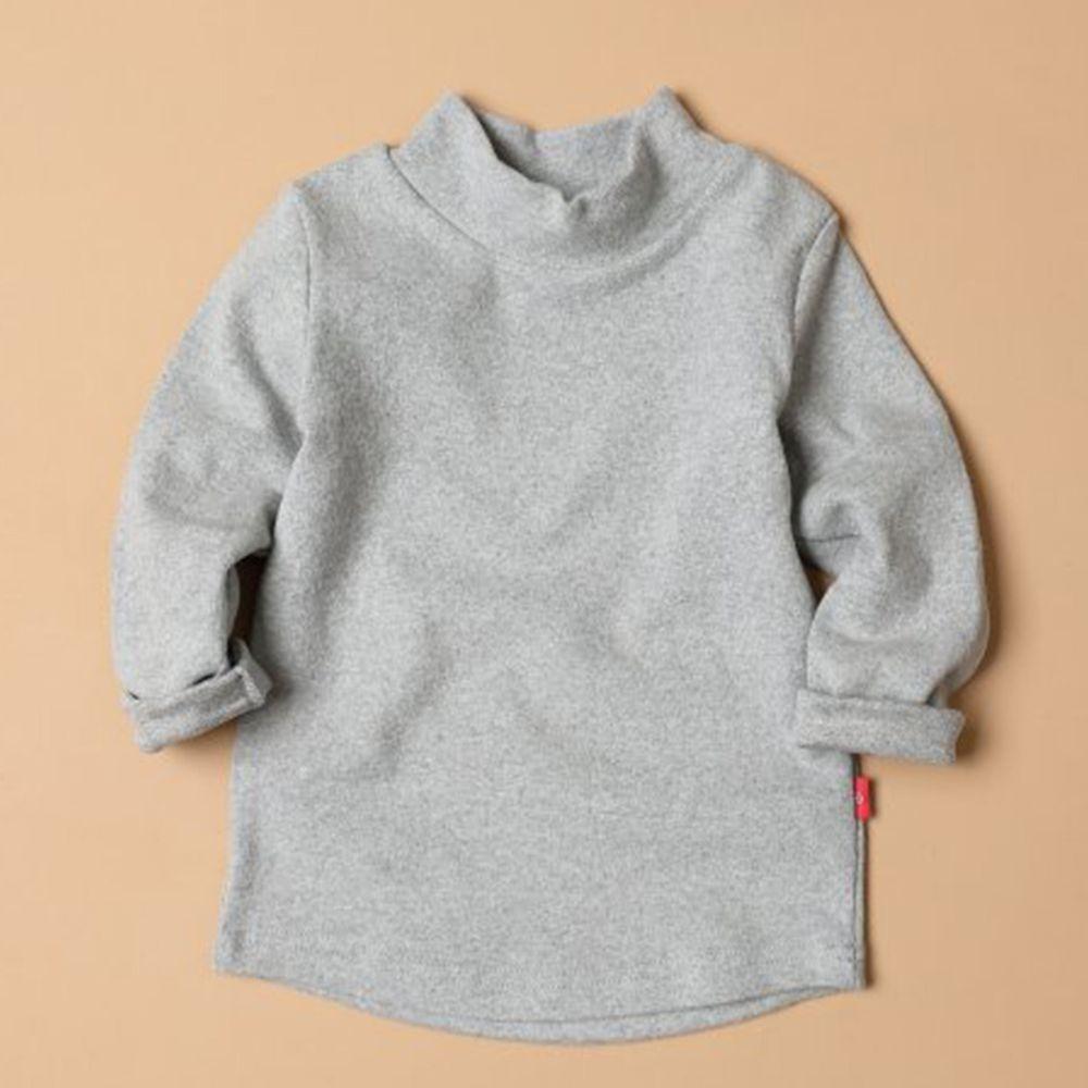 韓國製 - 桃皮絨半高領針織內搭衣-淺灰