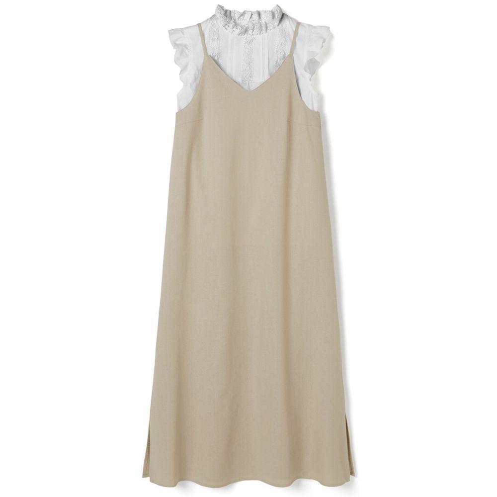 日本 GRL - 荷葉袖無袖上衣 X 細肩帶吊帶裙套裝-純白X杏色