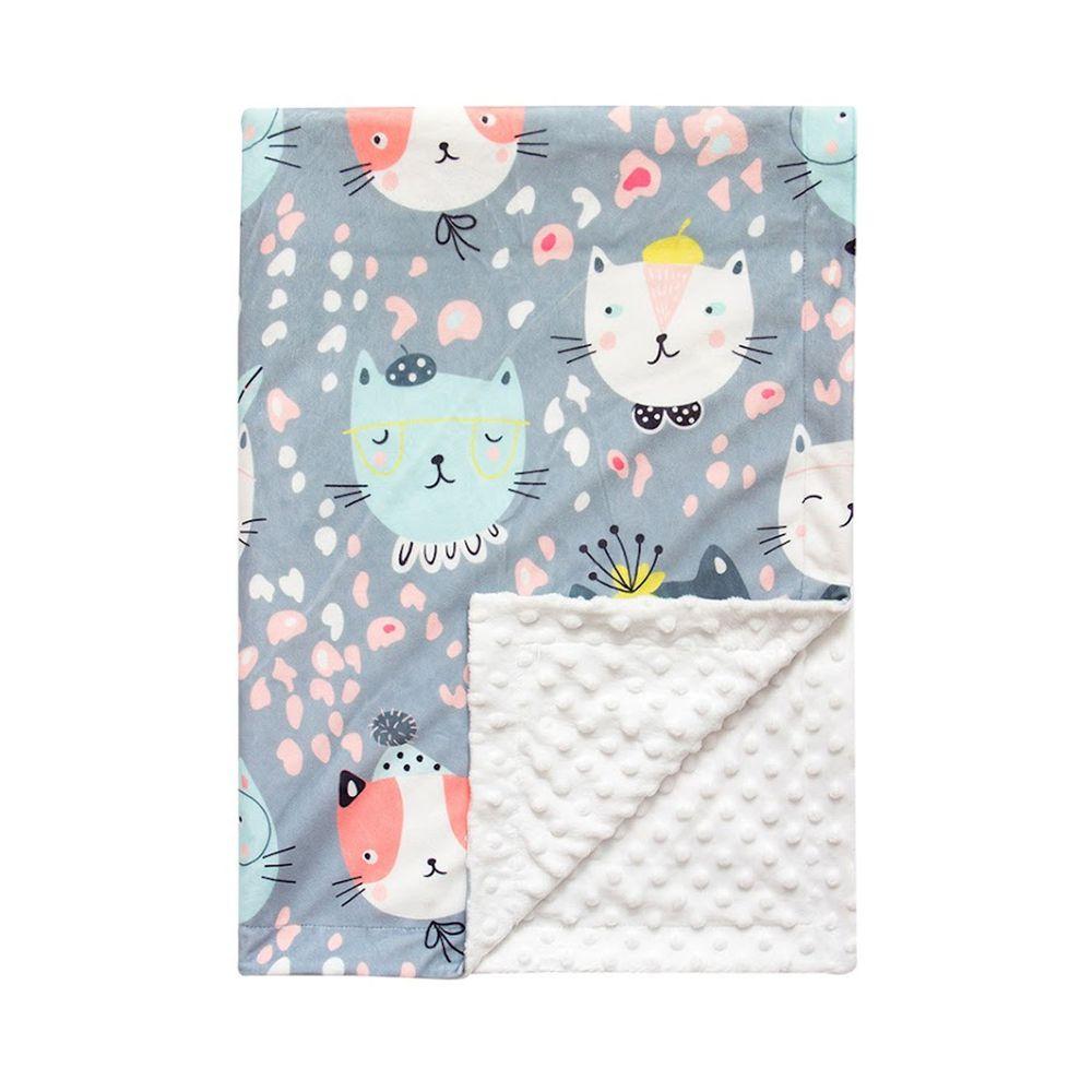 JoyNa - 雙層印花泡泡毯 嬰兒被被-灰貓 (76*84cm)