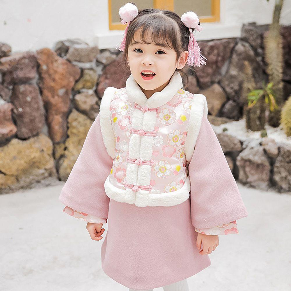 雪絨棉襖旗袍洋裝-加厚款洋裝+背心-粉色