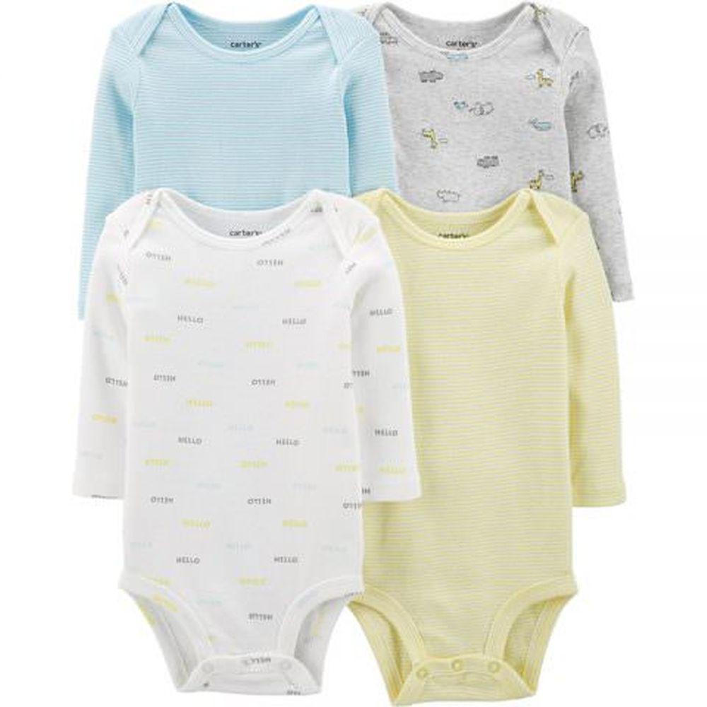美國 Carter's - 嬰幼兒100%純棉長袖包屁衣四件組-哈囉長頸鹿