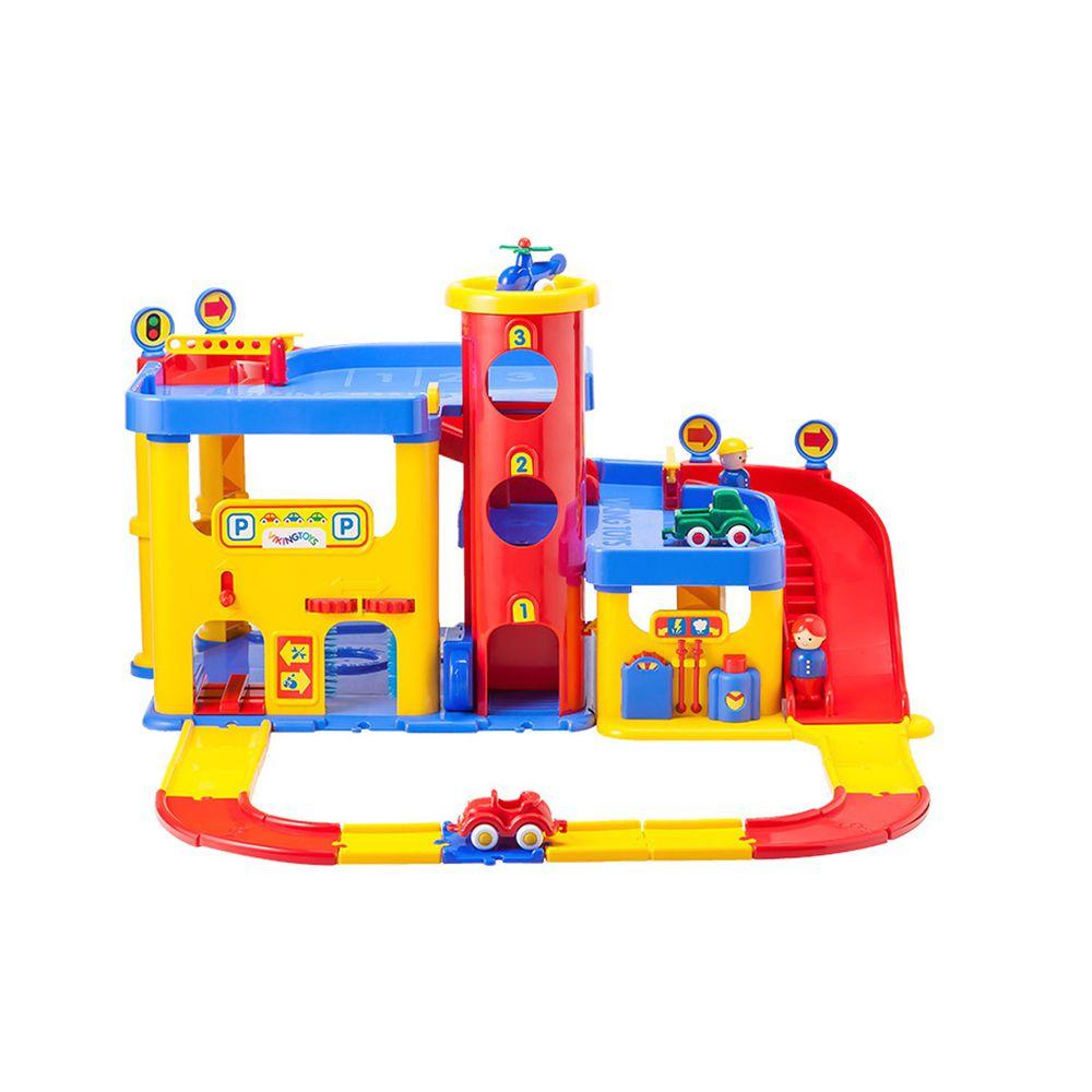 瑞典Viking toys - 城市三層停車場(含加油站及洗車場)-含直升機*1+車車*2+人偶*2