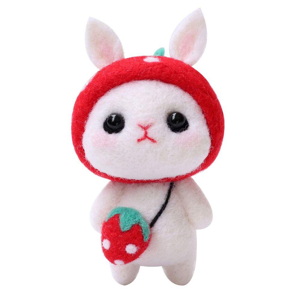 Diy療癒兔子羊毛氈戳戳樂材料包-紅色兔兔