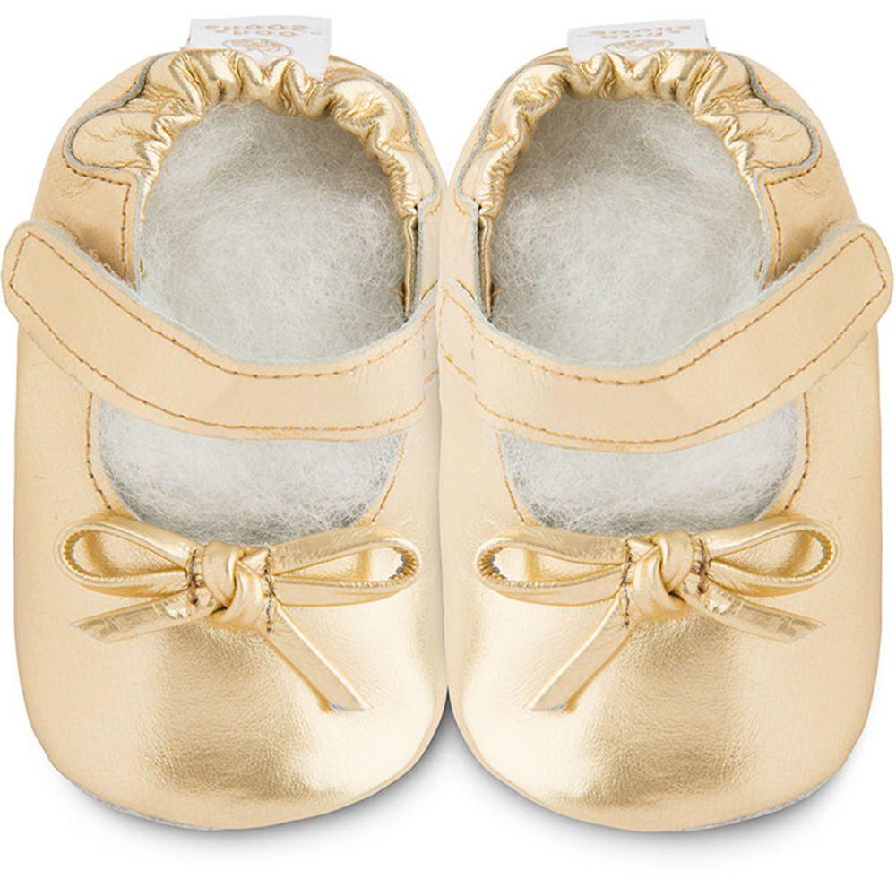 英國 shooshoos - 健康無毒真皮手工鞋/學步鞋/嬰兒鞋/室內鞋/室內保暖鞋-金色年代