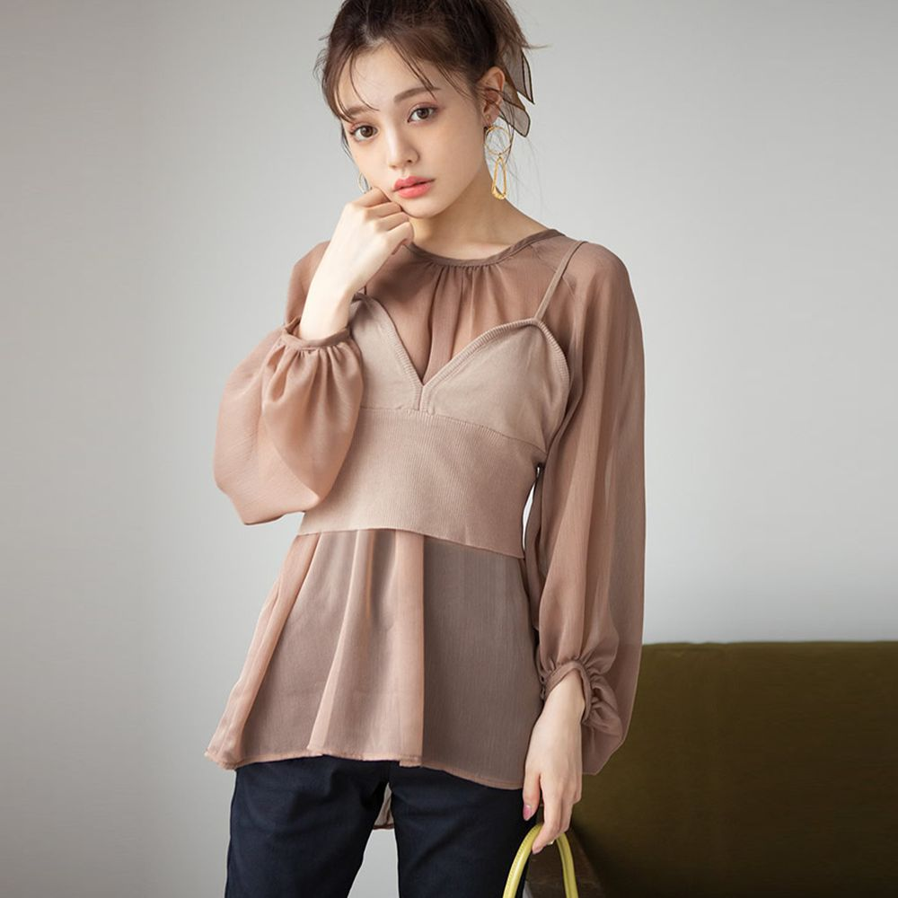 日本 GRL - 針織小背心X透膚薄雪紡上衣套裝-摩卡杏 (Free)