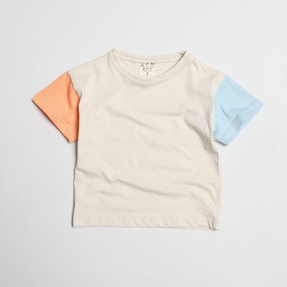 韓國製 - 撞色袖拼接純棉T-橘X藍