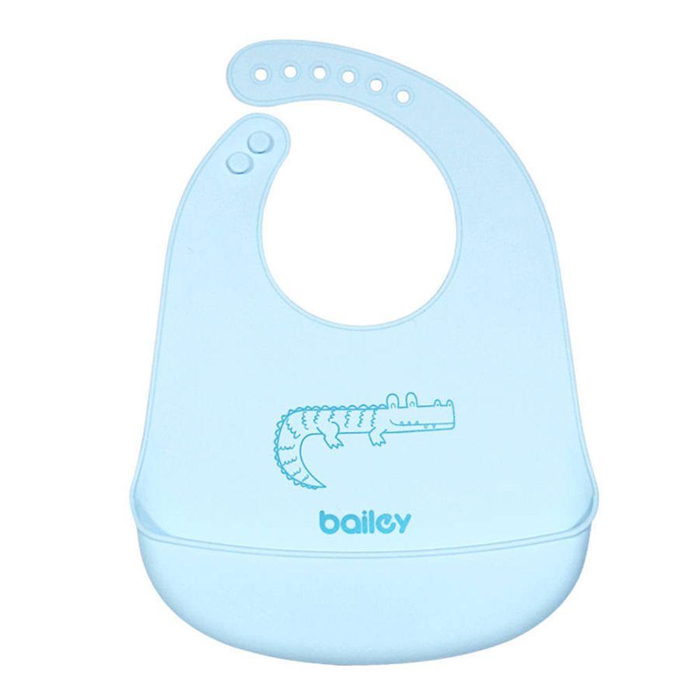 韓國 BAILEY 貝睿 - 矽膠圍兜-立體圍兜-粉藍