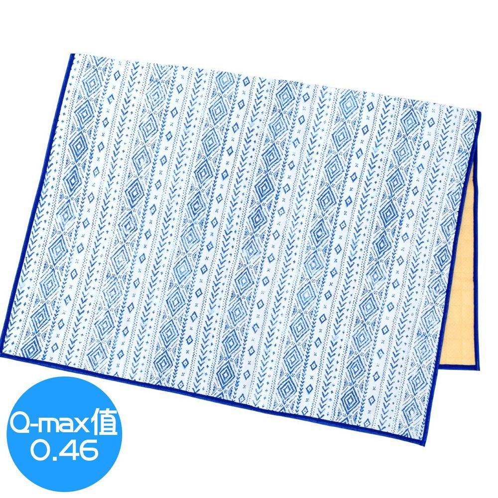 日本 TOMO - 接觸涼感地毯/床墊毯-藍白圖騰 (130x190cm)
