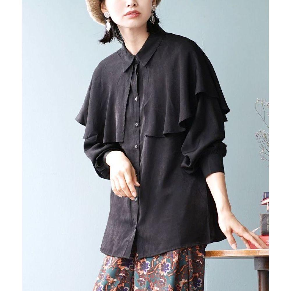 日本 zootie - 文藝復古大荷葉領雪紡長袖襯衫-黑