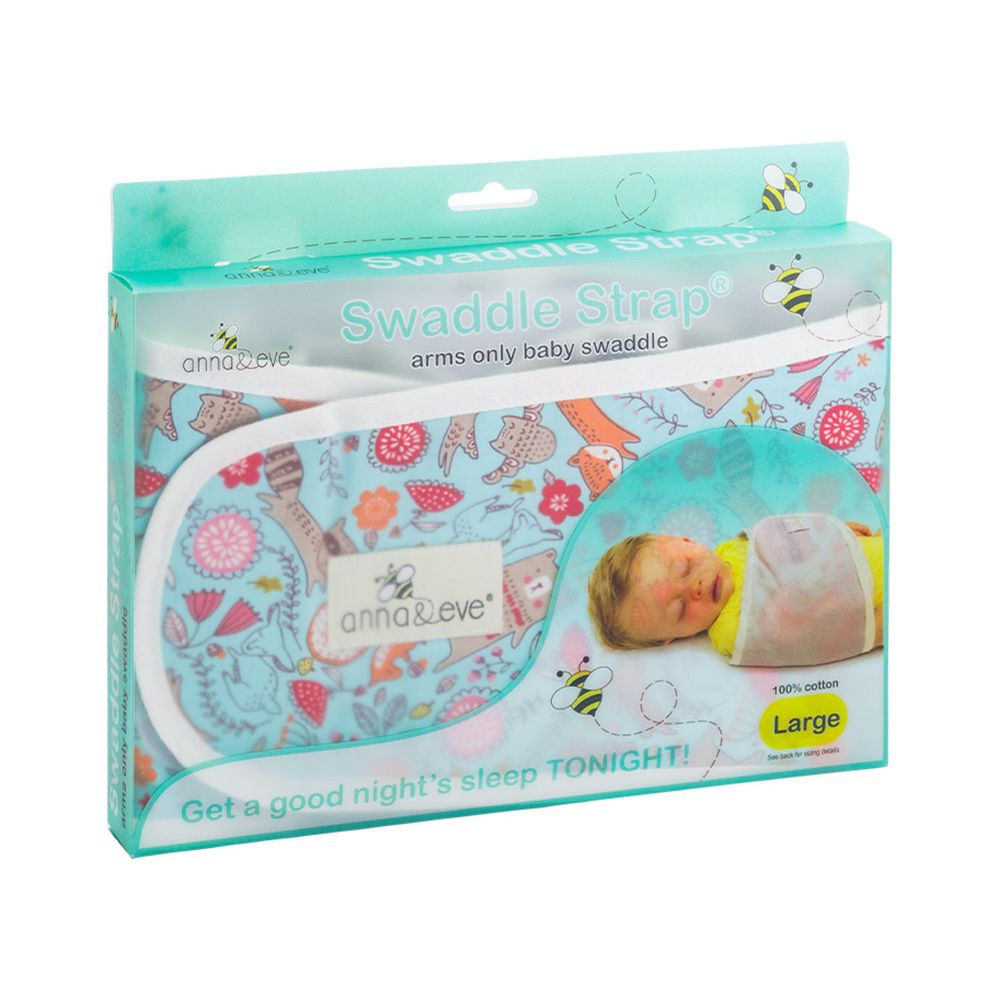Anna&Eve - 美國 嬰兒舒眠包巾 / 防驚跳新生兒肚圍-藍色動物俱樂部