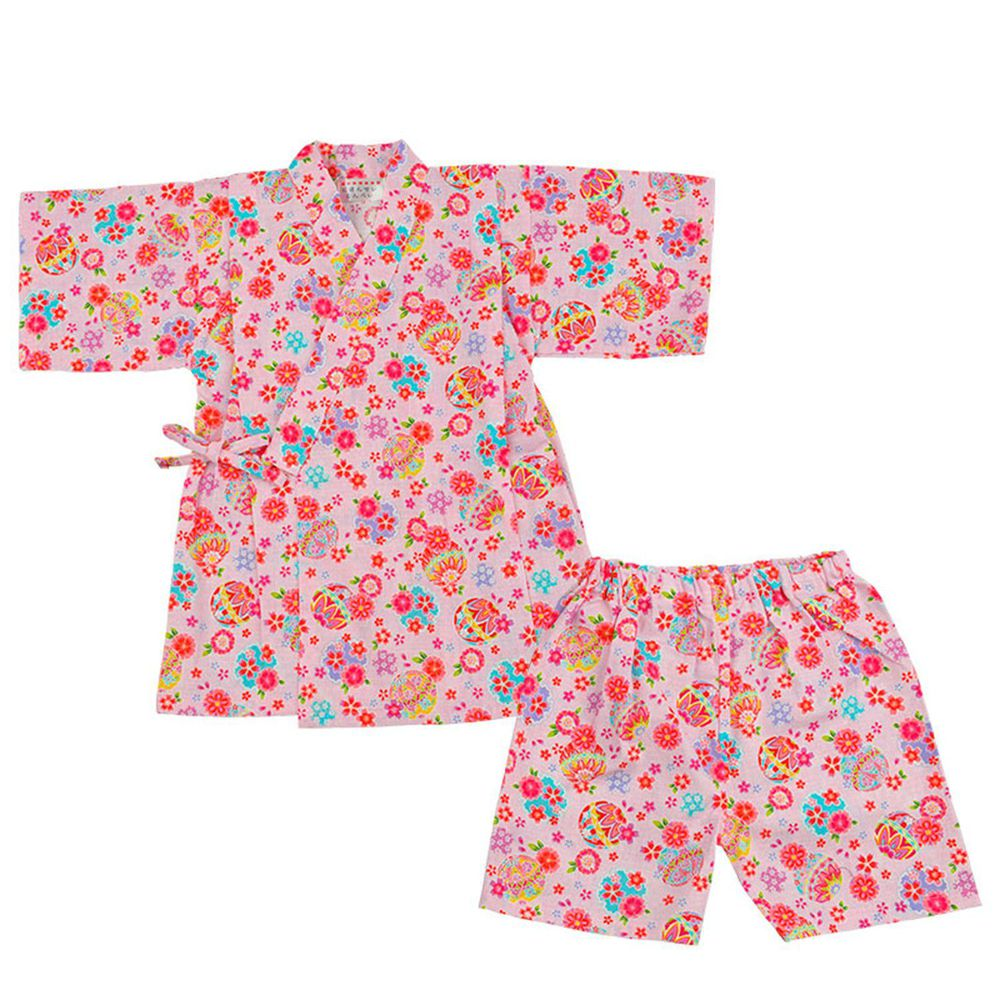akachan honpo - 幼童兩件式甚平-手鞠-粉紅色