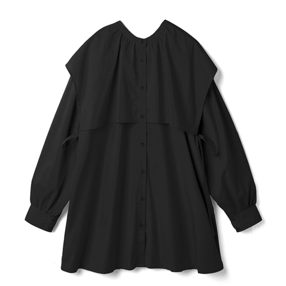日本 GRL - 側蝴蝶結綁帶大方領長袖短版洋裝-黑