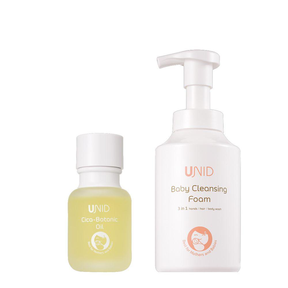美國UNID - Cica植萃舒緩調理油Cica-Botanic Oil+U寶淨膚慕斯Baby Cleansing Foam-50ml+420ml