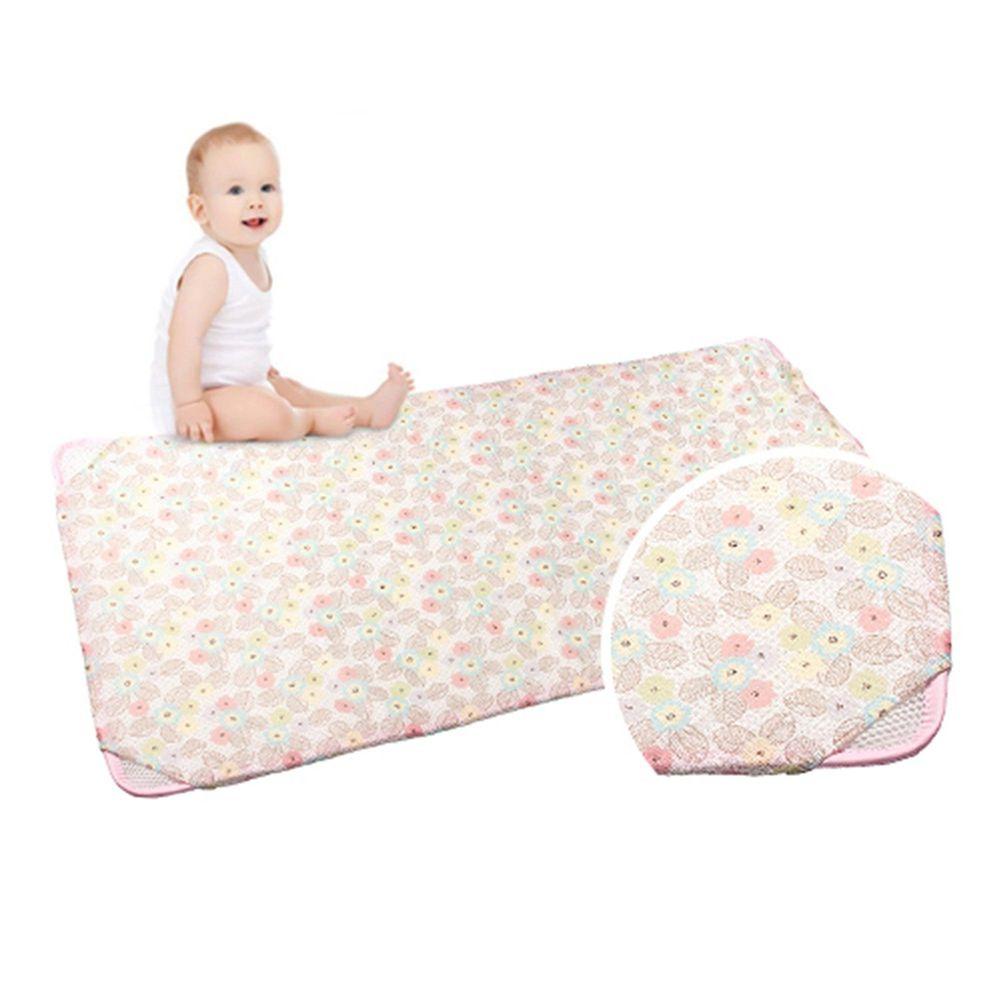韓國 GIO Pillow - 智慧二合一有機棉超透氣排汗嬰兒床墊-粉漾花朵 (L號)