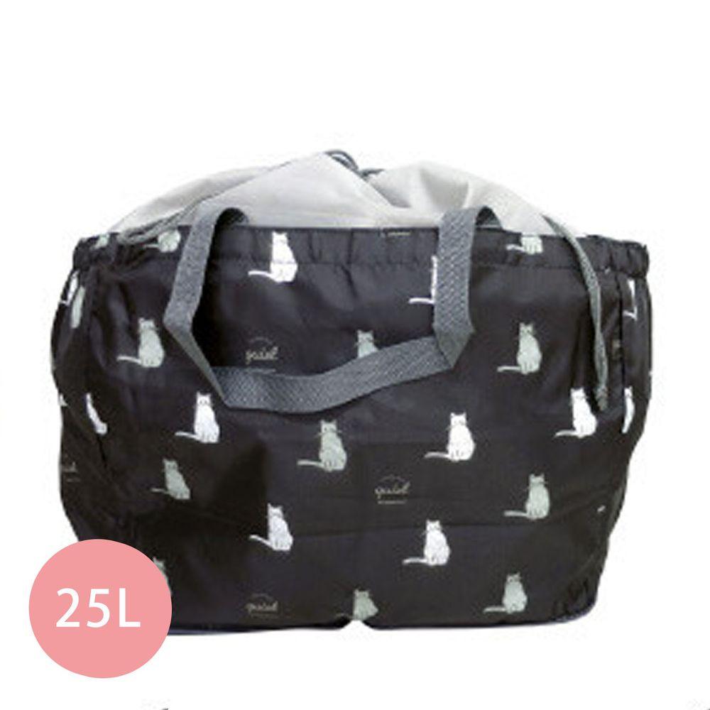 日本 Chepeli - 超大容量保冷購物袋(可套購物籃)-貓咪-黑-25L/耐重15kg