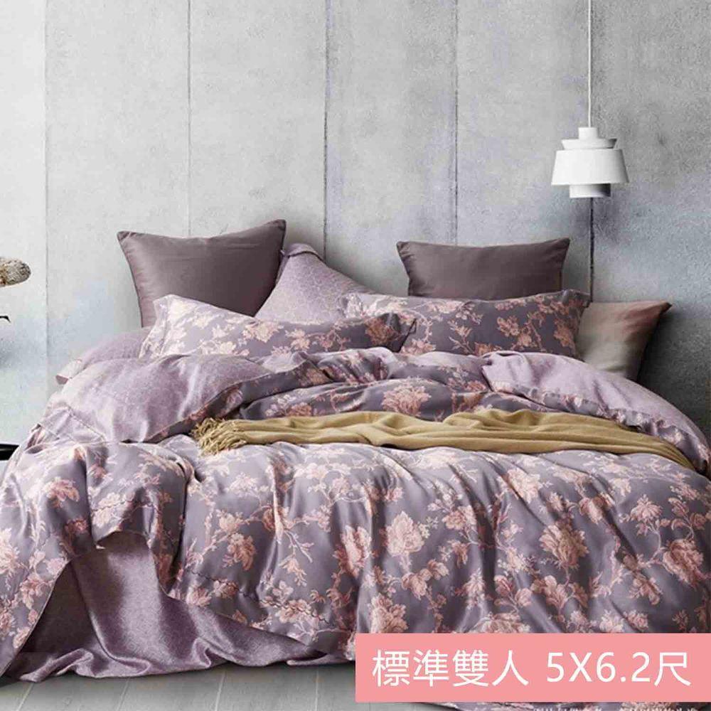 飛航模飾 - 裸睡天絲加高版床包組-花伴(雙人床包兩用被四件組) (標準雙人 5*6.2尺)