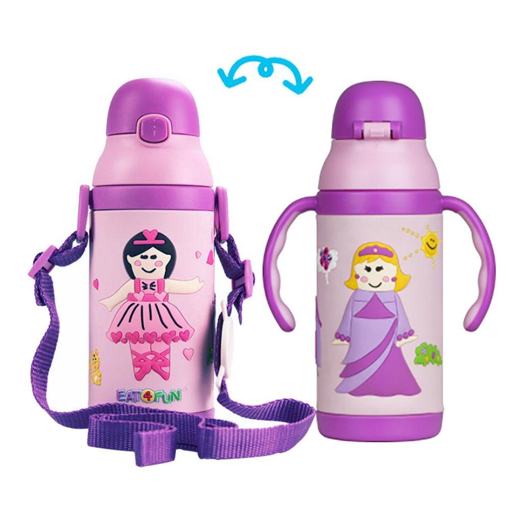 EAT4FUN - 食品級不鏽鋼3D彈跳吸管保溫水杯-兒童水壺-童話公主 (385ML)