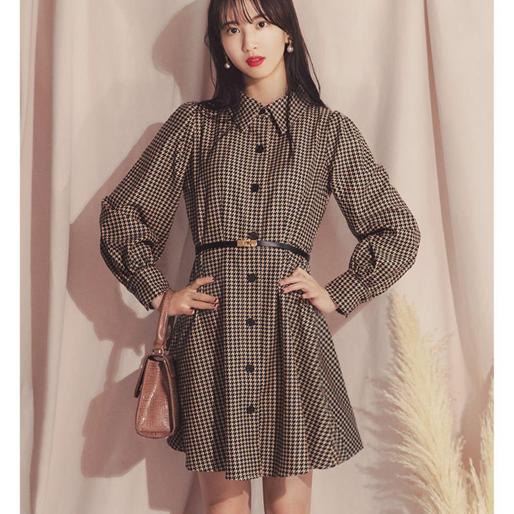 日本 GRL - 明星聯名款 千鳥紋修身短版襯衫洋裝-咖啡