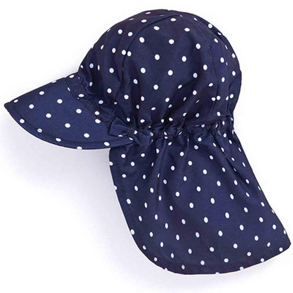英國 JoJo Maman BeBe - 嬰幼兒/兒童UPF50+防曬護頸遮陽帽-藍底白點